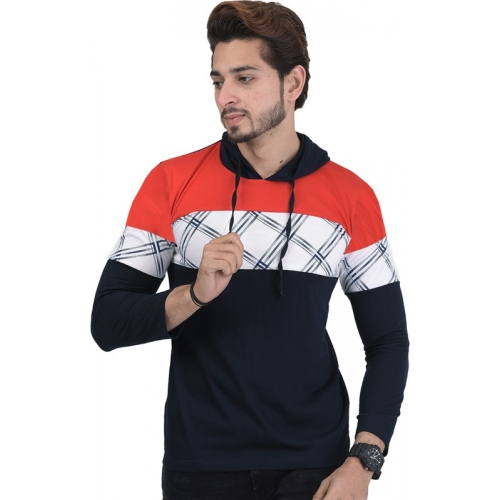 Shaun Color block Cotton Blend  Hooded Dark Blue, White, Red T-Shirt