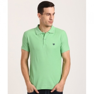 Duke Self Design Cotton Blend Half Sleeve Polo Neck Green T-Shirt