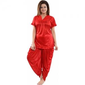 Fashigo Red Satin Solid Top & Pyjama Set