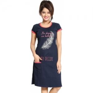 Fassion Blue Cotton Printed Night Dress