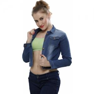 Nifty Blue Full Sleeve Solid Denim Jacket