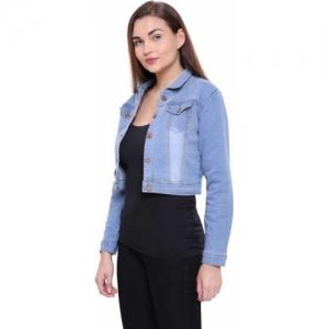 GSA MALL Blue Full Sleeve Ombre Denim Jacket