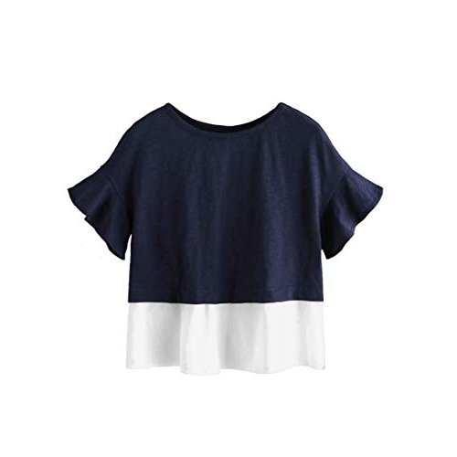 FreshTrend Plain Blue and White Flounce Sleeve Cotton Round Neck Tshirt for Women
