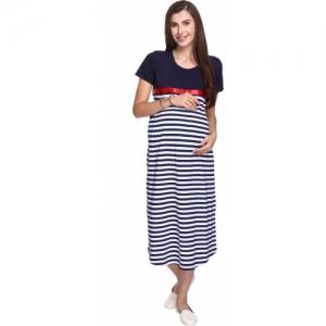 MomToBe Blue & White Cotton Maxi Dress