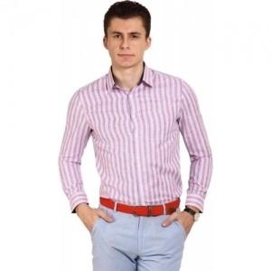 Brooklyn Blues Pink Men's Striped Casual Shirt