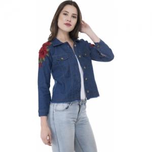 MONTREZ Blue Full Sleeve Floral Print Denim Jacket