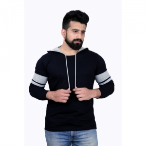 KAY S APPARELS Solid Cotton Blend Hooded Dark Blue T-Shirt