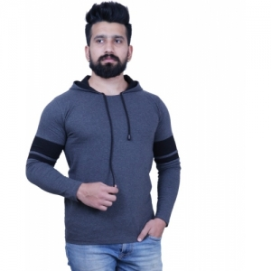 KAY S APPARELS Solid Cotton Blend Full Sleeve Hooded Grey T-Shirt