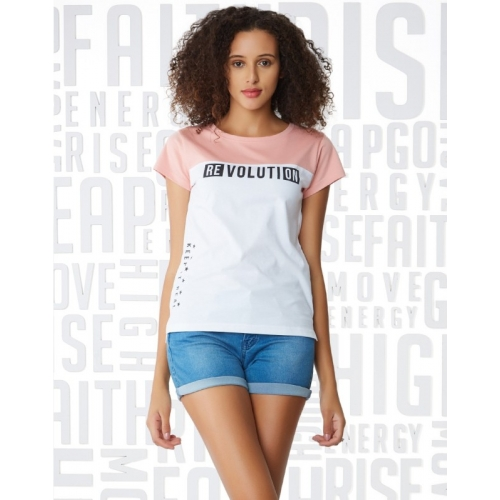 Metronaut Pink & White Cotton Slim Fit Casual T-Shirts
