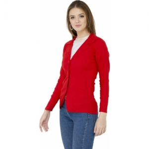 AAKRITHI Red Solid Single Breasted Casual Women Blazer