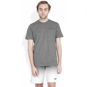 Under Armour Grey Cotton Blend Solid Round Neck T-Shirt