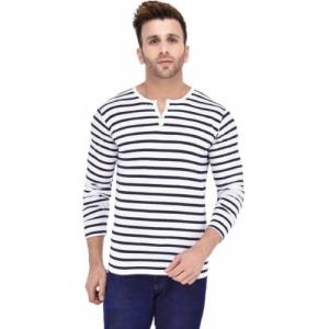 Lifeidea Striped Cotton Blend Henley White, Blue T-Shirt