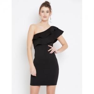 U&F Black Cotton Bodycon Black Dress