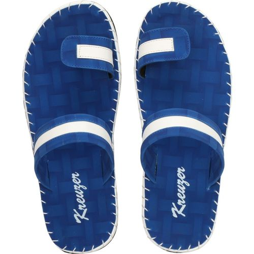 Kreuzer Men Synthetic Leather Chappal (Blue) Slippers