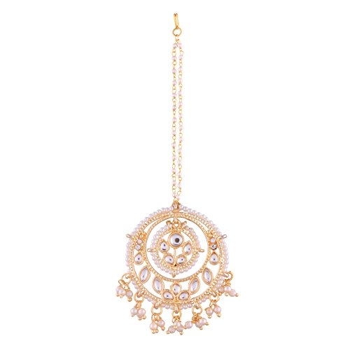 I Jewels Traditional Gold Plated Kundan & Pearl Maang Tikka for Women