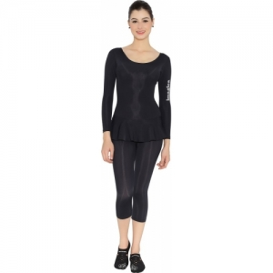Imagica Black Polycotton Full Body suit Solid Swimsuit