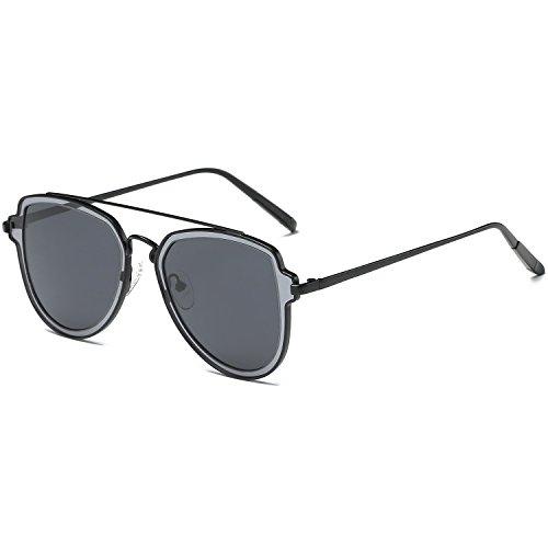SOJOS Fashion grey Flat Mirrored Lens Aviator Sunglasses