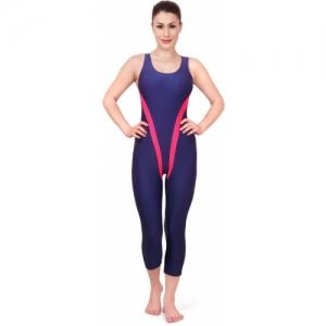 Enkay Blue Lycra Striped Swimsuit