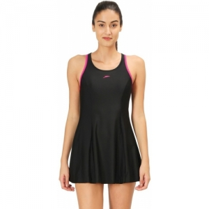 Speedo Black Swimwear Racer-Back Swimdress (With Boyleg) Solid Swimsuit