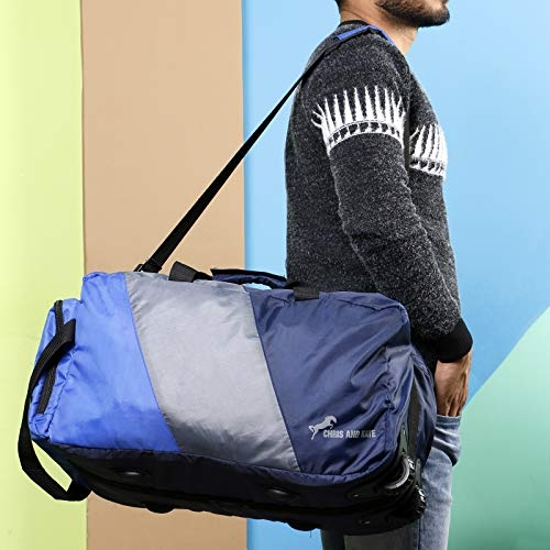 Chris & Kate Blue Polyester 50 Litres Lightweight Foldable Duffle Bag