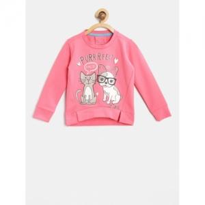 Lazy Shark Girls Pink Printed Hooded Sweatshirt