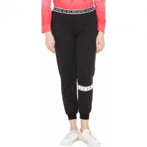 Ajile by Pantaloons Black Cotton Polka Print Track Pants