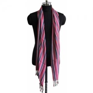 Weavers Villa Pink Striped Cotton Viscose Blend Women Stole