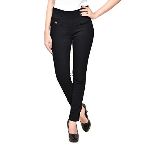 MISS BEBO Women's Black Solid Denim Ankle Length Jeggings