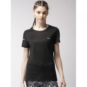 2GO Black Polycotton Solid Round Neck  T-Shirt