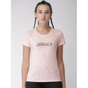 2GO Pink Printed Round Neck T-Shirt