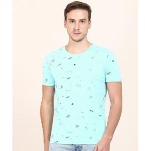 Wrangler Printed Men Round or Crew Blue T-Shirt