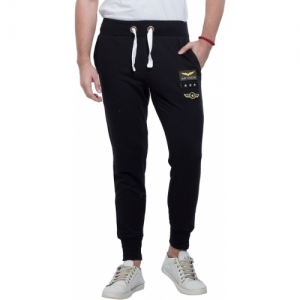 Alan Jones Black Cotton Applique Track Pants