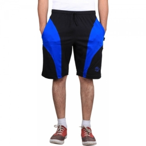 Vego Black & Blue Cotton Solid Sports Shorts