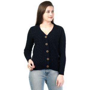 Kalt Black Self Design V-neck Casual Sweater