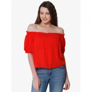 ONLY Pure Cotton Off Shoulder Casual Red Solid Tops