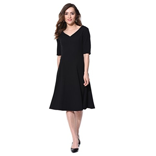 AARA Black V Neck  Casual Plain Simple Flare Midi Dress