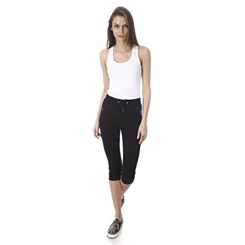 GOLDSTROMS Women's Solid Cotton Capri with Zipper Pocket and Bottom Grip