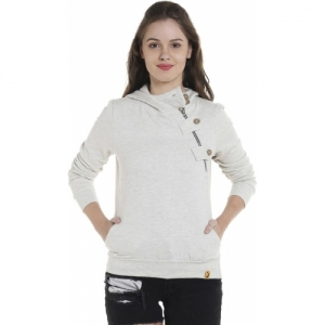 Campus Sutra Grey Cotton Blend Full Sleeve Solid Sweatshirt