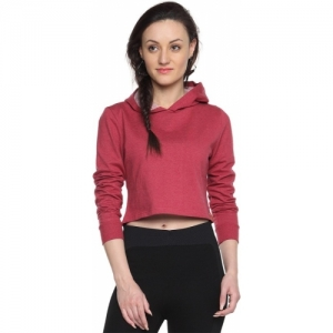 Campus Sutra Red Cotton Blend Full Sleeve Solid Sweatshirt