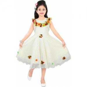 SKS FASHIONS White Cotton Sleeveless Knee Length Party Dress