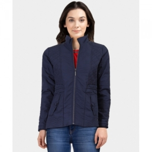 Monte Carlo Blue Leather Full Sleeve Solid Jacket
