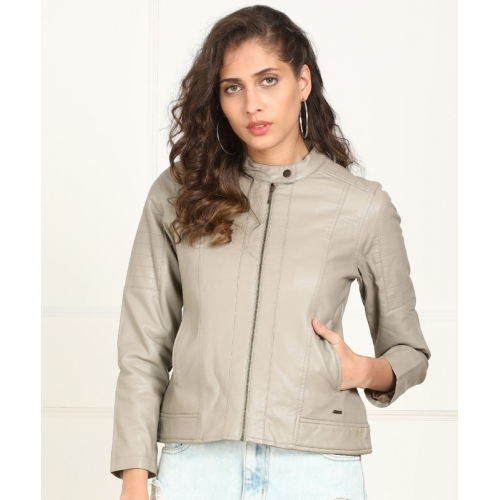 Numero Uno Beige Leather Full Sleeve Solid Jacket