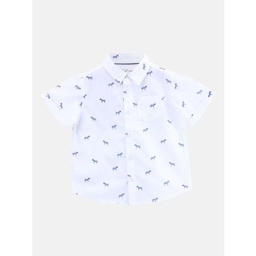 Beebay Boys White & Blue Regular Fit Printed Casual Shirt
