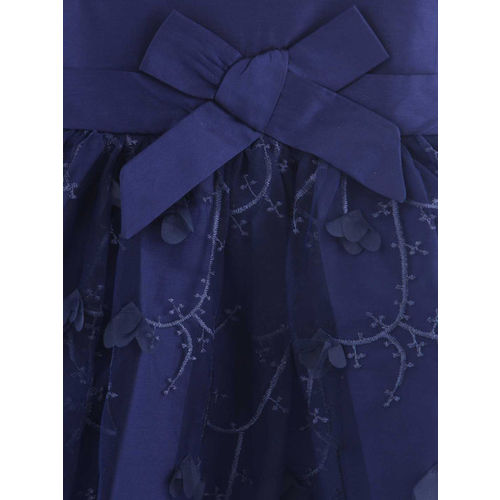 Beebay Girls Navy Blue Self Design Fit and Flare Dress