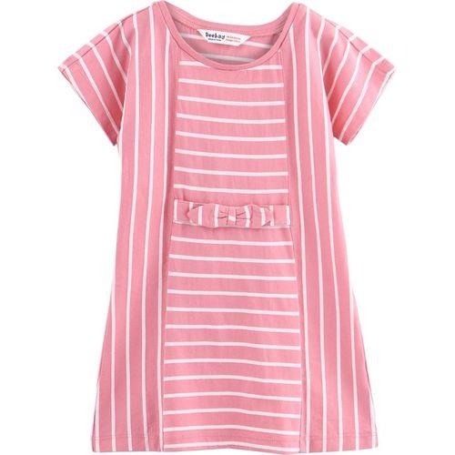 Beebay Girls Midi/Knee Length Casual Dress(Pink, Half Sleeve)