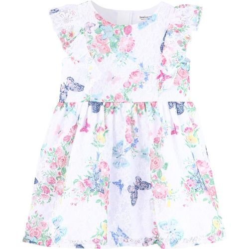 Beebay Girls Midi/Knee Length Casual Dress(White, Sleeveless)