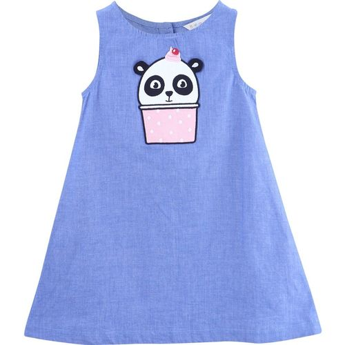 Beebay Girls Midi/Knee Length Casual Dress(Blue, Sleeveless)