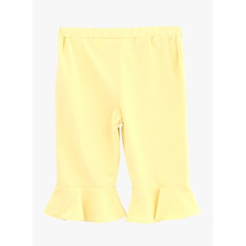 Beebay Yellow Solid Regular Fit Capri
