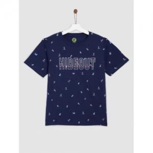 YK Boys Navy Blue Cotton Printed Round Neck T-shirt