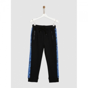 YK Boys Black Cotton Regular Fit Joggers